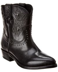 Frye Billy Stud Short Leather Boot - Black