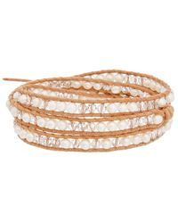 Chan Luu - Silver & Leather 4mm Pearl & Crystal Wrap Bracelet - Lyst