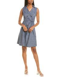 Maggy London Crystal Wrap Linen-blend Midi Dress - Blue