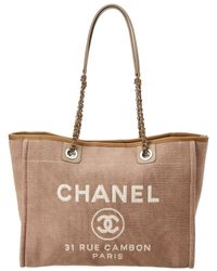 Chanel - Beige Canvas Large Deauville Tote - Lyst