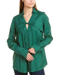 Rosie Assoulin Drawstring Linen-blend Shirt - Green
