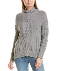 J.Crew Chunky Cable Turtleneck Sweater - Gray