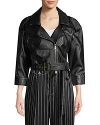 Carolina Herrera Crop Leather Jacket - Black