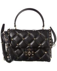 Valentino Candystud Quilted Leather Top Handle Shoulder Bag - Black
