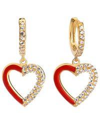 Gabi Rielle 14k Vermeil Cz & Enamel Heart Necklace - Multicolour