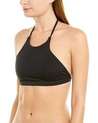 MILLY Cabana High-neck Halter Bikini Top - Black