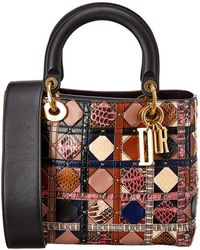 Dior Lady Quilted Leather Tote - Black
