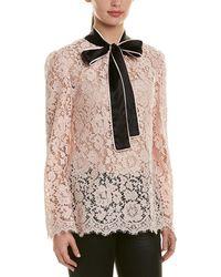 Dolce & Gabbana Silk-trim Lace Top - Pink