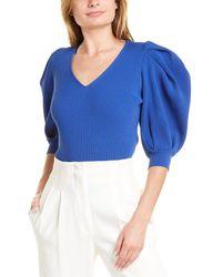 Carolina Herrera Rib Puff Sleeve Top - Blue