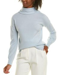 Forte Mock Button Back Cashmere Sweater - Blue