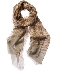 Forte Cashmere & Silk-blend Print Scarf - Brown