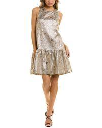 Lela Rose Metallic Shift Dress - Gray