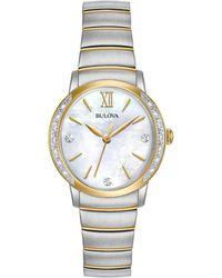 Bulova - Women's Diamond Accent Two-tone Stainless Steel Bracelet Watch 28mm 98r231 - Lyst