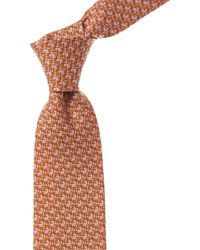 Ferragamo Orange Zebra Silk Tie