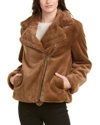 Vince Plush Moto Jacket - Brown