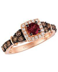 Le Vian - ? Chocolatier? 14k Rose Gold 1.05 Ct. Tw. White & Brown Diamond & Rhodolite Ring - Lyst