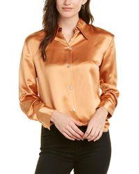 Vince Pointed Collar Silk Blouse - Orange