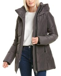 Nicole Benisti Series By Goldenes Leather-trim Down Coat - Grey