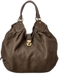 Louis Vuitton Gray Mahina Leather Extra Large Hobo - Brown