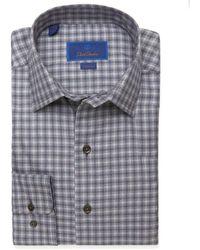 David Donahue Heathered Soft Check Fusion Woven Shirt - Gray