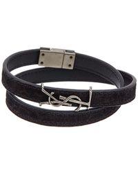 Saint Laurent Opyum Double Wrap Leather Bracelet - Black