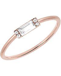 EF Collection 14k 0.11 Ct. Tw. Diamond & Topaz Baguette Stack Ring - Metallic