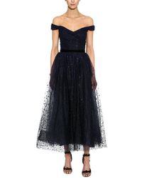 Marchesa notte Draped Corseted Sequin Gown - Blue
