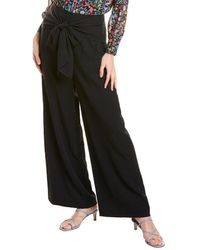 MILLY Washed Chalky Twill Wide Leg Pant - Black