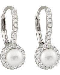 Splendid - Silver 5-5.5mm Freshwater Pearl & Cz Drop Earrings - Lyst