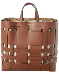 Burberry Foster Large Woven Tote Bag - Brown