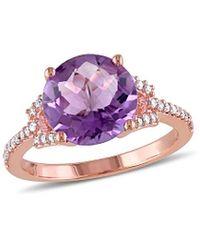 Rina Limor 10k Rose Gold 3.90 Ct. Tw. Diamond & Amethyst Ring - Pink