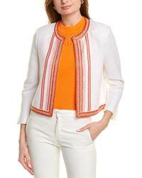St. John Basket Stripe Wool-blend Jacket - White