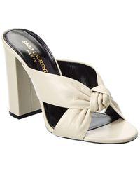 Saint Laurent Bianca 100 Leather Mule - White