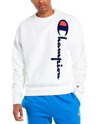 Champion Oversized Flocked Script Reverse Weave Sweatshirt - White