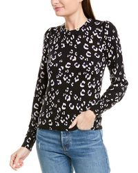Rebecca Taylor Cheetah Print Wool Pullover - Black