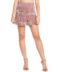 Dance & Marvel Velvet Ruffle Skirt - Pink