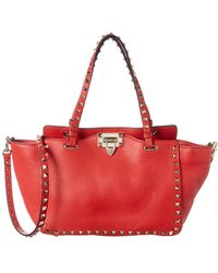 Valentino Rockstud Leather Tote Bag - Red