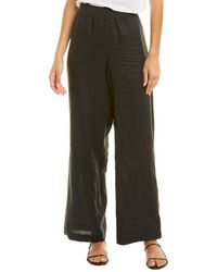 Three Dots Wide Leg Linen Pant - Black