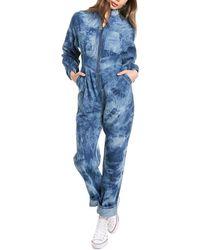Divine Héritage Zip Front High-waist Jumpsuit - Blue