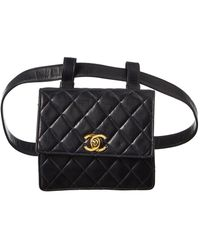 Chanel Navy Quilted Lambskin Leather Cc Pouch Belt Bag - Multicolour