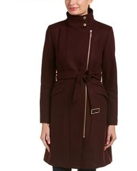 Cole Haan Asymmetrical Walker Coat - Red
