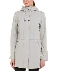 Via Spiga Cinch Waist Raincoat - Gray