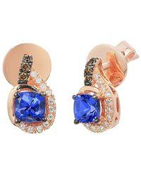 Le Vian ? Chocolatier? 14k Strawberry Gold 0.70 Ct. Tw. Diamond & Tanzanite Earrings - Blue