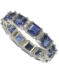 Suzy Levian Silver 4.95 Ct. Tw. Sapphire Ring - Blue