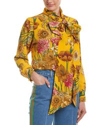 Gucci Floral Silk Blouse - Yellow