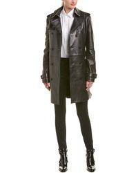 Saint Laurent Belted Leather Trench Coat - Black