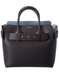 Burberry Triple Stud Small Belt Bag Leather Tote - Grey