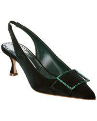 Manolo Blahnik Dolores Velvet Slingback Court Shoes - Green