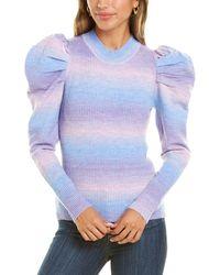 Lea & Viola Puff Sleeve Wool-blend Top - Blue