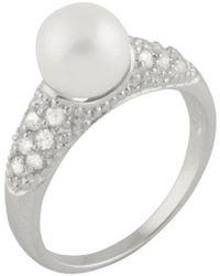Splendid - Splendid Pearl Rhodium Plated 7.5-8mm Pearl Cz Ring - Lyst